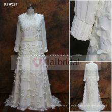 RSW284 Manga larga del vestido de boda de la gasa