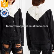 Heißer Verkauf Schwarz Und Weiß Denim Langarm Frühling Frauen Jacke Mit Tasche Herstellung Großhandel Mode Frauen Bekleidung (TA0011J)