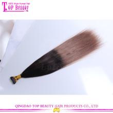 Qualidade superior por atacado in natura cor de seda ombre direto dou gorjeta extensões de cabelo remy indiano virgem 100%