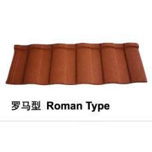 Telha de telha de metal revestida de pedra romana