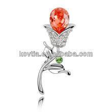 Yiwu Lieferant Rhinestone Brosche schöne Rose Blume Form Broschen weißes Gold Rubin Broschen