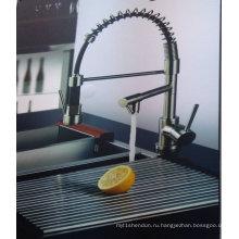 Вертикальный вытяжной кухонный кран с двумя ручками
