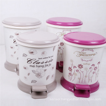 Fashion Printed Design Pedal Plastic Dustbin (YW0089)