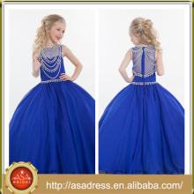 ARC-09 2015 New Arrival Girl Party Dress Custom Made Royal Blue Beading Flower Girl Dress Girls Christmas Dresses