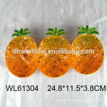 Pineapple shaped ceramic plate in triplet for food dolomite plate