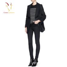 Sobretudo de casaco de lã de inverno preto senhora coreana