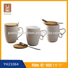 480ML nueva taza de cerámica blanca con tapa de madera y cuchara