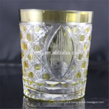 yellow decorative cutting glass for drinking