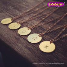 Wholesale High Quality Zinc Alloy Engrave Letter Pendant Necklace