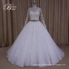 Ak040 Großhandel Plus Größe muslimische Hochzeitskleid mit Perlen Gürtel