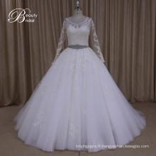 Ak040 en gros Plus de la robe de mariée musulmane de taille avec ceinture perlée