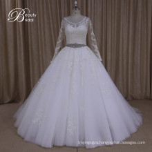 Ak040 Wholesale Plus Size Muslim Wedding Dress with Beaded Belt