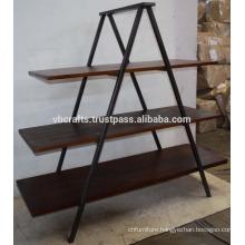 Industrial Wooden Metal Display Rack