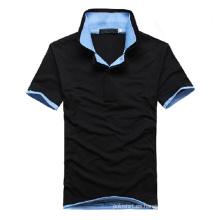 Camisa de cuello doble de manga corta para hombres de alta calidad