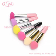 Colorful make up puffs individually packed sponge long handle puff brush