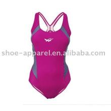 Fato de banho competitivo vermelho da rosa do projeto 2013 novo para mulheres, roupa de banho