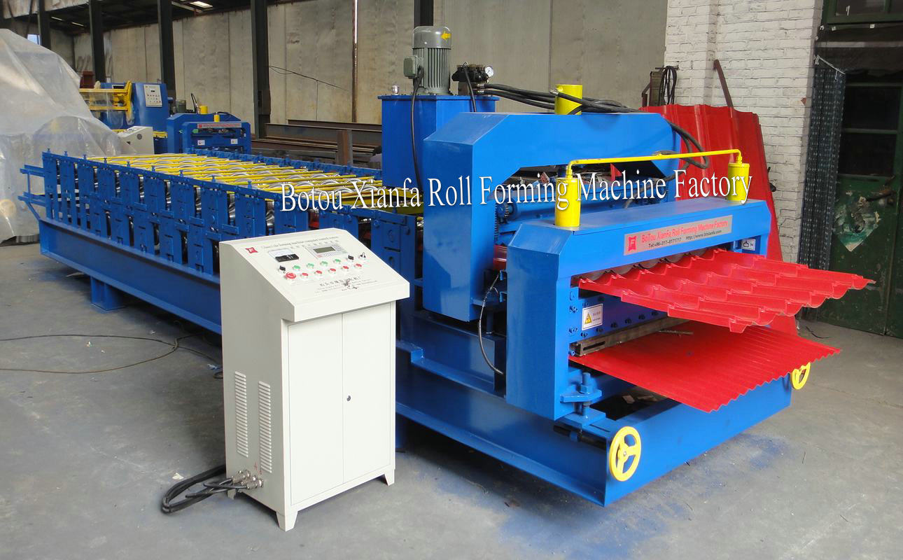 glazed profile double deck forming machine