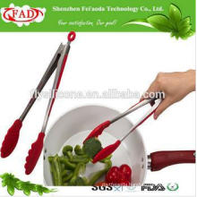 BPA Free Popular Restaurant Dedicated Heat Resistant Silicone Stainless Steel/Metal Serving Tongs
