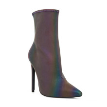 high heel sexy reflective luminous stretchy material pointed toe zipper shinny boots for ladies and women