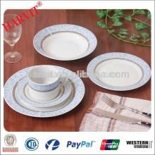 Ensemble de vaisselle ronde en bleu royal et blanc