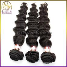 Melhor vender cor natural onda indiana 100 não transformados remy cabelo peruano virgem