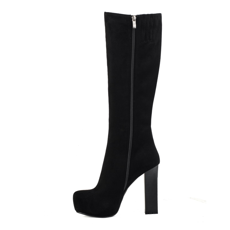 Knee high elastic suede fashion black boots