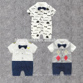 2017 hot sell Mustache gentleman jumping suit 100% cotton short sleeve infant romper Bow tie small captain baby romper wholesale