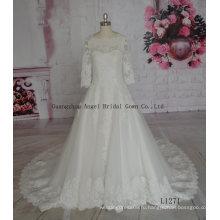 Уникальный Бальное Платье Милая Кристаллы Аппликации Бантом Последнее Свадебное Платье