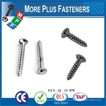 Feito em Taiwan Steel Stainless Steel Flat Head Cross Recess Drive Zinc Plated CR3 + M4 ~ M10 Self Tapping Screw