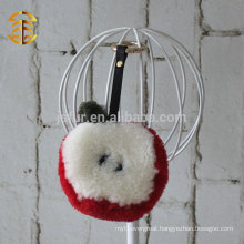 2015 New Design Cute Apple Genuine Sheepskin fur ball Key Chain For Bag Accessory