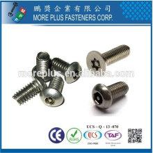 Taiwan Edelstahl 18-8 verchromt Stahl vernickelt Stahl Kupfer Messing Einweg Torx Stift Unregelmäßiger Typ Sicherheitsschraube