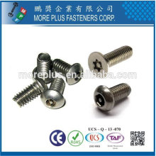 Taiwan Stainless steel 18-8 Chrome plated steel Nickel plated steel Copper Brass One Way Torx pin Irregular Type Safety Screw