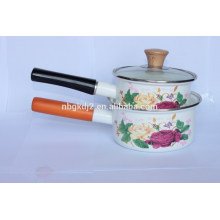 durable enamel single handle pot with glass lid