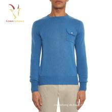 Custom Cashmere Wool Männer Pullover mit Brusttasche