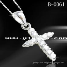 925 Sterling Silber Kreuz Anhänger (B-0061)