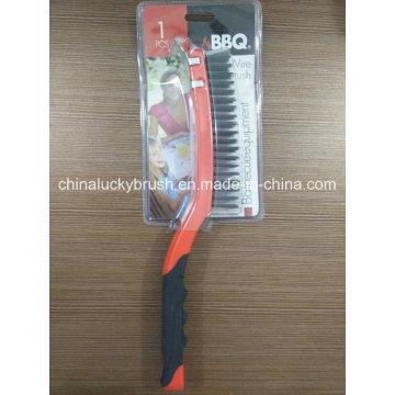 Dobro de plástico plástico alça de arame de aço churrasqueira escova (yy-502)