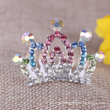 Colorful Rhinestone Silver Tiaras Hair Combs Crystal Combs