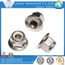 Stainless Steel A4 Hex Nylon Nut with Flange