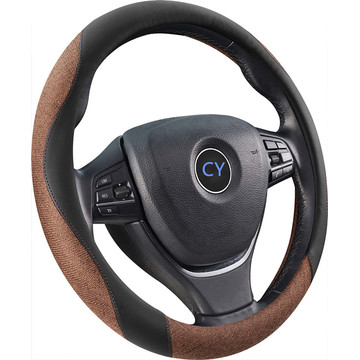 New design flax leather steering wheel cover