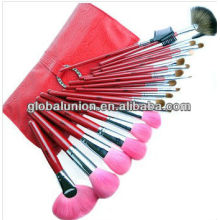 21 Pieces Pink Makeup Brush Set with Fan Brush Pink Hair