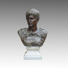 Bustos Bronze Jardim Escultura O rei romano Octavian Deco Latão Estátua TPE-450