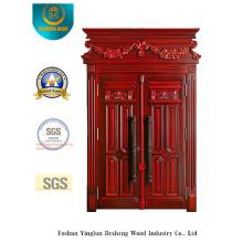 Porta de metal duplo estilo clássico segurança com escultura (m2-1015)