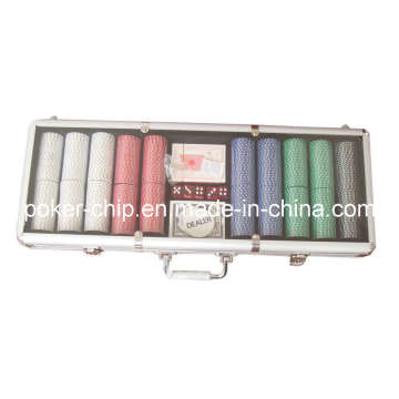 500PCS Poker Chip Set in Transparent Cover Aluminum Case (SY-S29)