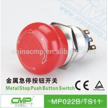 CMP aluminum alloy mushroom head emergency switch ip67 metal 22mm