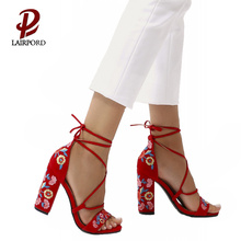 11cm high heel sweet gril embroideredsandals