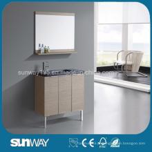 Mobília de banheiro com folheado de madeira de venda quente com pia