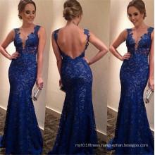 Women Deep V-Neck Blue Sexy Lace Backless Wedding Dress