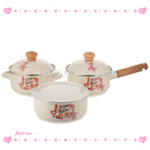 enamel tableware single pot with wooden handle wooden knob and cute animal decal