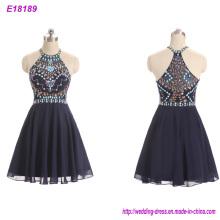 Newest Design Black Backless Sleeveless Evening Dress Retail up Beading Short Party Dress