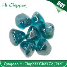 Blue Colored Diamond Shape Fire Pit Glass Gem Stone